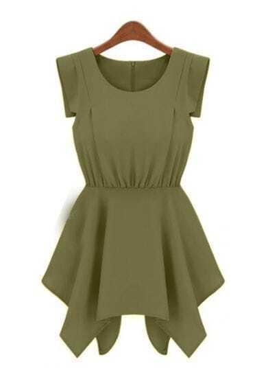 Army Green Round Neck Sleeveless High Waist Chiffon Dress