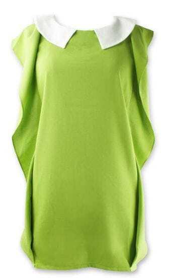 Green Lapel Ruffle Sleeve Chiffon Dress