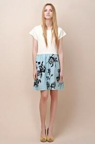 White Patchwork Painting Print Round Neck Short Sleeve Dress