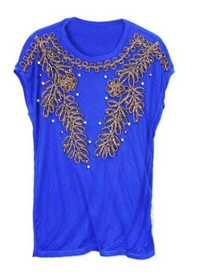 Blue Vintage Court Beading Round Neck Short Sleeve T Shirt
