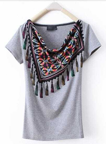 Grey Scarf Draped Neck Short Sleeve T Shirt