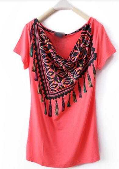 Red Scarf Draped Neck Short Sleeve T Shirt