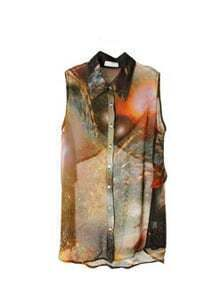 Orange Galaxy Print Sleeveless Criss Cross Back Blouse