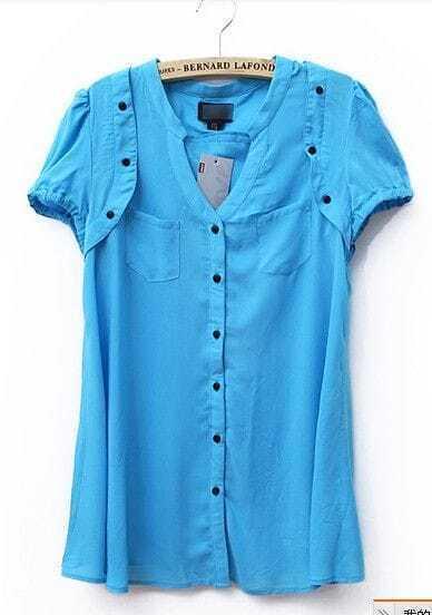 Blue Button V Neck Short Sleeve Blouse