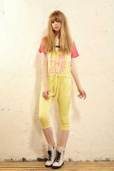 Yellow Letter Print Active Jumpsuits