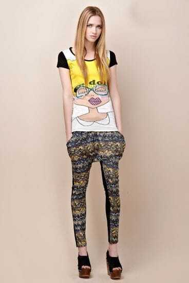 Blue And Yellow Color Block Patchwork Chiffon Modern Leggings