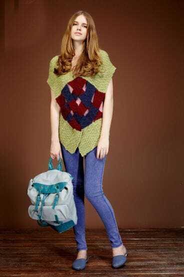 Green Color Block Joker Weave V Neck Sweaters