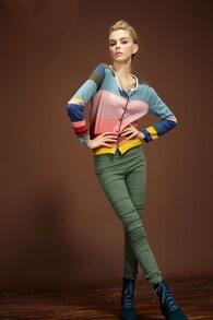 Color Block Joker Weave Cardigan Long Sleeve Sweater