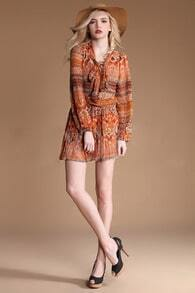 Orange Floral V Neck Long Sleeve Loose Chiffon Dress