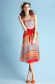 Bohemia Pleated Round Neck Sleeveless Chiffon Dress