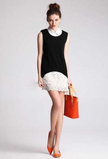 Solid Black Lapel Sleeveless Slim Chiffon Dress