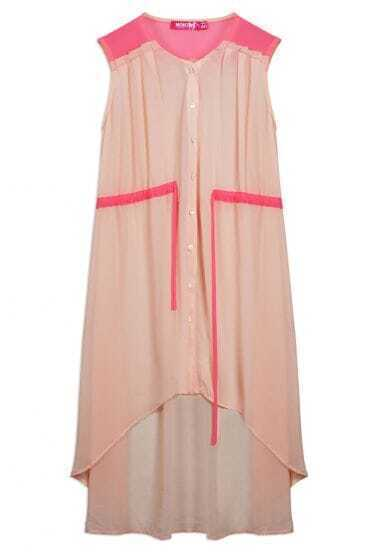 Bohemia Button Round Neck Sleeveless Irregular Pink Dress