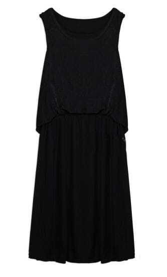 Solid Black Round Neck Sleeveless Cotton Long Dress
