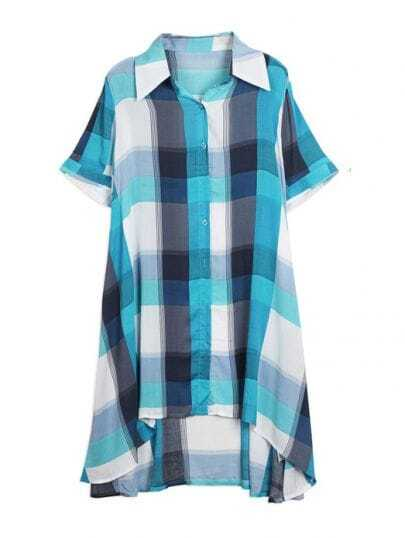 Green Plaid Lapel Short Sleeve Irregular Waist Shirt Dress