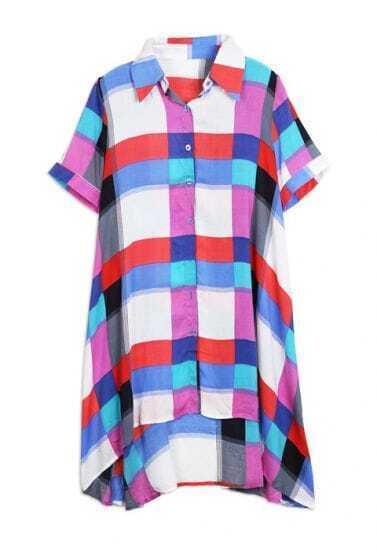 Red Plaid Lapel Short Sleeve Irregular Waist Shirt Dress