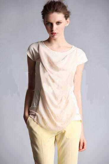 Beige Cap Sleeve with Drape Neck Chiffon Shirt