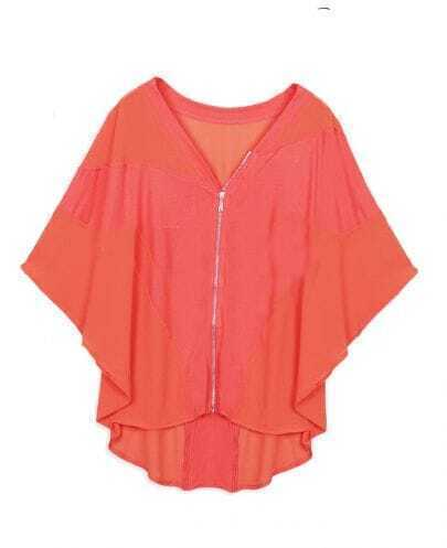 Orange V-neck Batwing Sleeve Zip Front and Back Cardigan