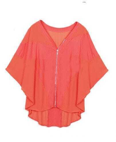 Orange V-neck Batwing Sleeve Zip Front and Back Cardigan