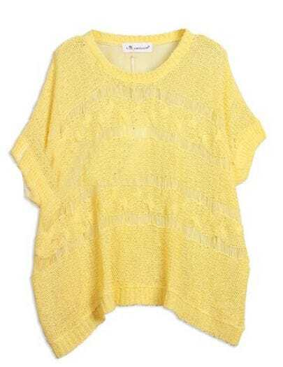 Yellow Batwing Sleeve Open Knit Distressed Chiffon Back top