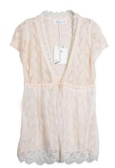 Beige Short Sleeve Eyelet Lace Hem Drawstring Knit Cardigan