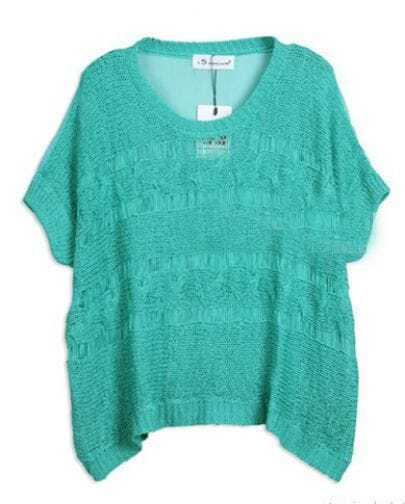 Turquoise Batwing Sleeve Open Knit Distressed Chiffon Back top