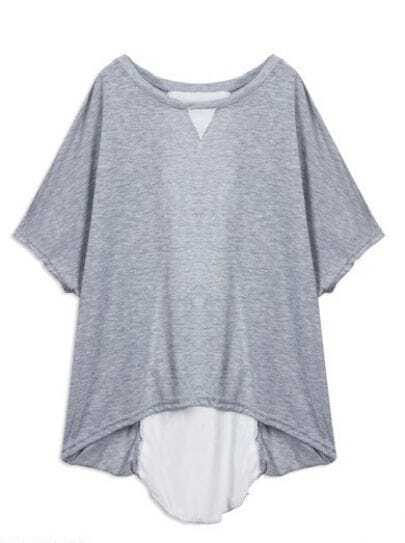Grey Batwing Sleeve Lace Up Dipped Back Blouse