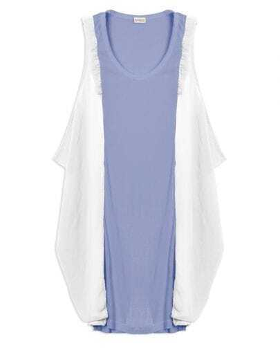 Blue Frill Embellished Sleeveless Tank Top Contrast Chiffon Side