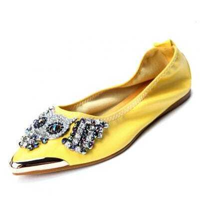 Yellow PU Beading Pumps