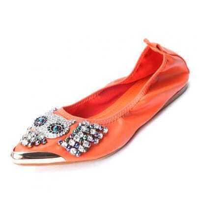 Orange PU Beading Pumps