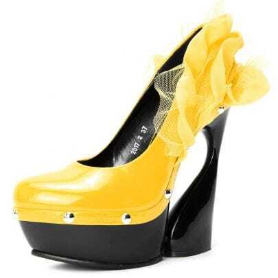 Yellow PU Solid Flower 145mm Pumps