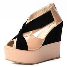 Beige Patent Leather 125mm Wedges