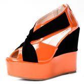 Orange Patent Leather 125mm Wedges