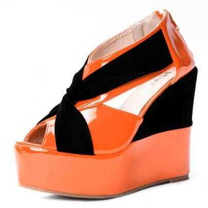 Orange Patent Leather 125mm Wedges