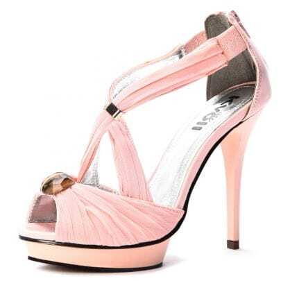 Pink Patent Leather And Chiffon 120mm Sandals