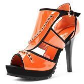 Orange Patent Leather With Metal Link 110mm Sandals