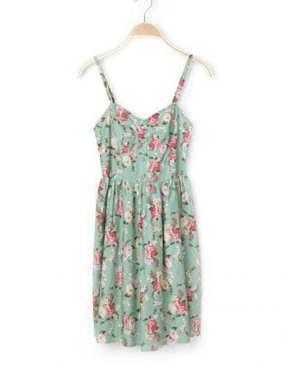 Blue Floral Spaghetti Strap Cotton Dress