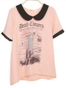 Pink DEATH CHEATERS Contrast Lapel Short Sleeve Chiffon T Shirt