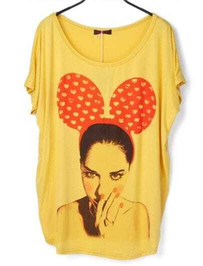 Yellow Sweety Mickey Girl Round Neck Short Sleeve T Shirt