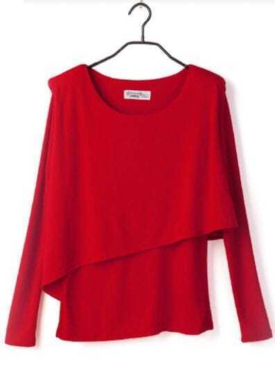 Red Shoulder Pad Long Sleeve Asymmetric Layered T-shirt