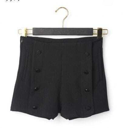 Black Button High Waist Shorts