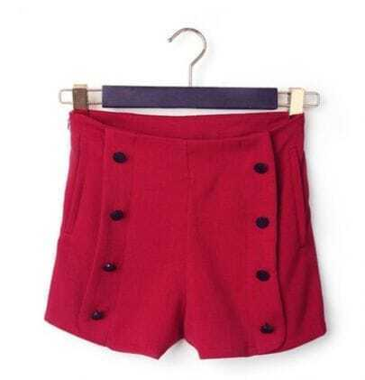 Purplish Red Button High Waist Shorts