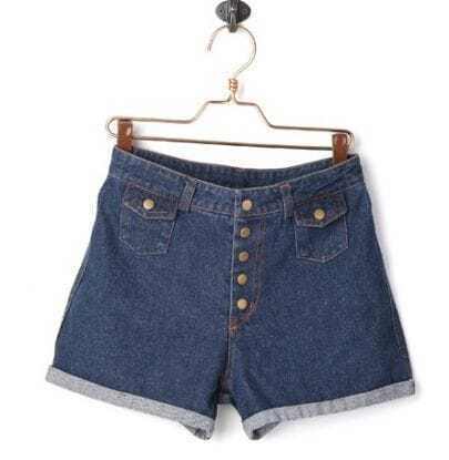 Dark Blue Denim High Waist Button Shorts