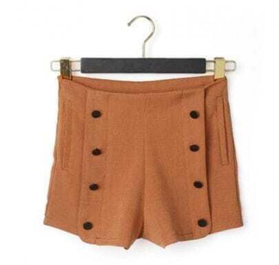 Orange Button High Waist Shorts