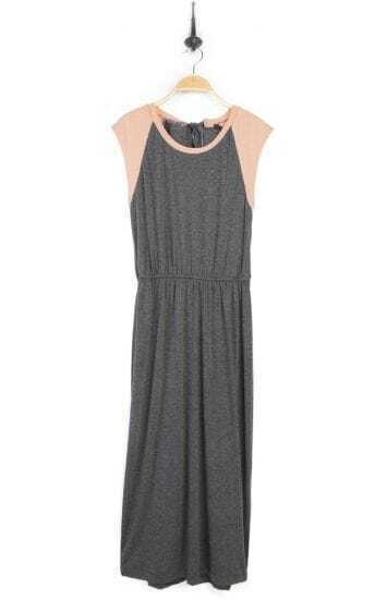 Grey Round Neck Sleeveless Full Length Dress