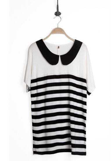 White Stripe Lapel Short Sleeve Above Knee Dress