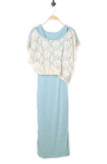 Light Blue Patchwork Lace Round Neck Bat Wing Sleeve Dress