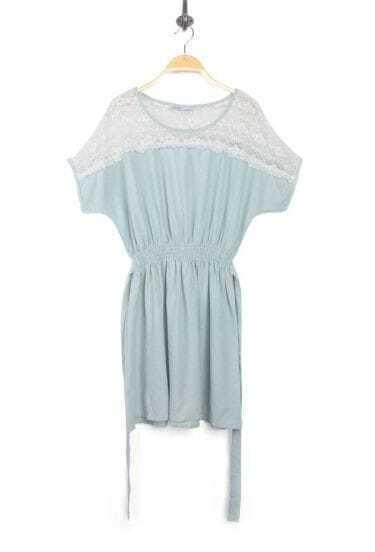 Light Blue Denim Patchwork Lace Round Neck Short Sleeve Dress
