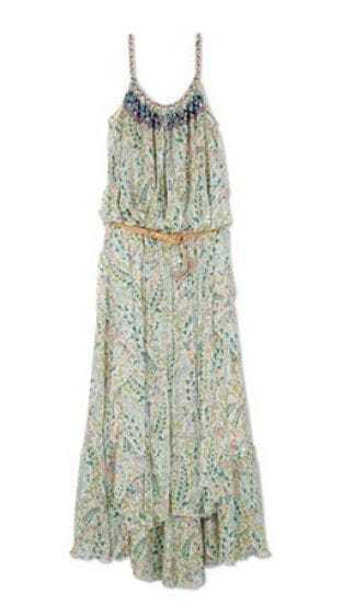 Green Floral Print Spaghetti Strap Full Length Dress