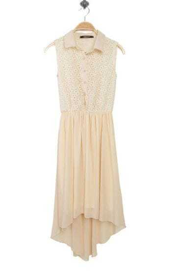 Apricot Chiffon Patchwork Lace Lapel Sleeveless Dress
