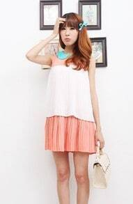 Watermelon Chiffon Lapel Sleeveless Pleated Dress